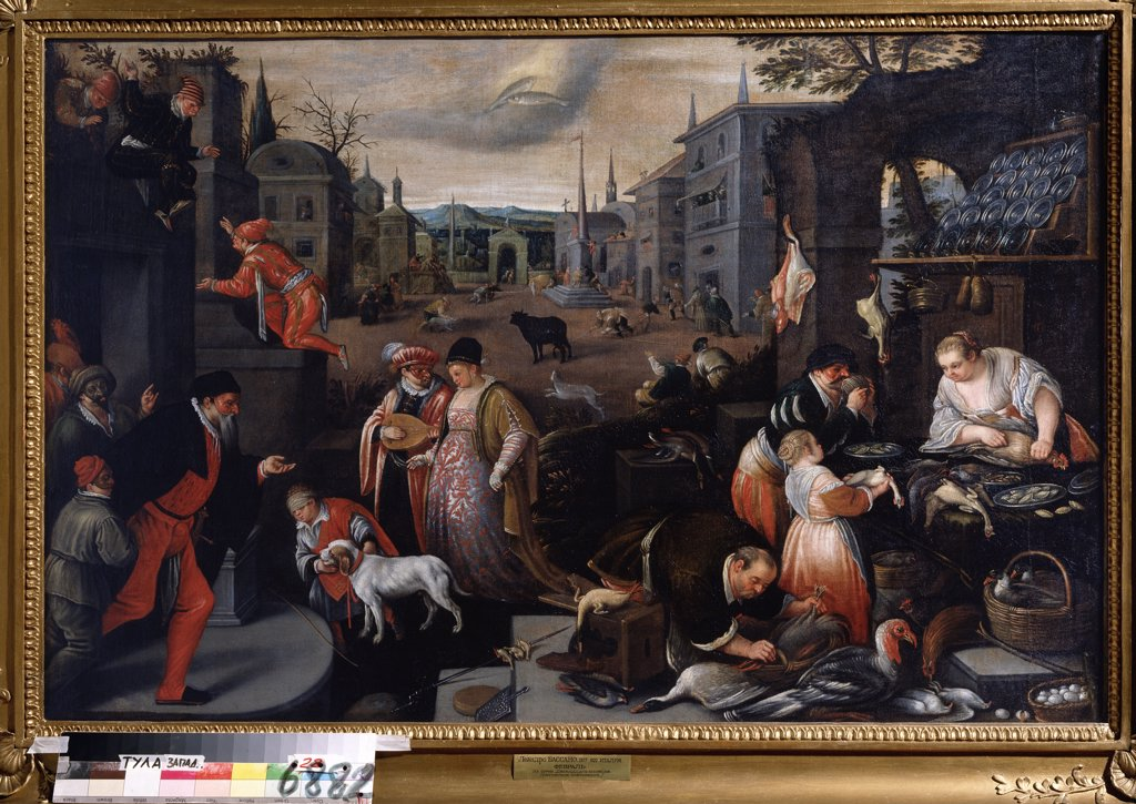 Stock Photo: 4266-13382 Street scene by Leandro Bassano, oil on canvas, 1557-1622, Russia, Tula, State Art Museum, 80x121