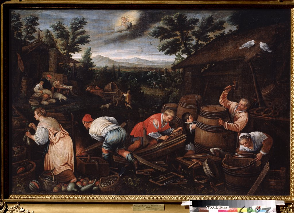 Stock Photo: 4266-13387 Man making barrels by Leandro Bassano, oil on canvas, 1557-1622, Russia, Tula, State Art Museum, 80x121