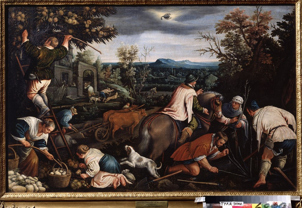 Automn time by Leandro Bassano, oil on canvas, 1557-1622, Russia, Tula, State Art Museum, 80x121 : Stock Photo