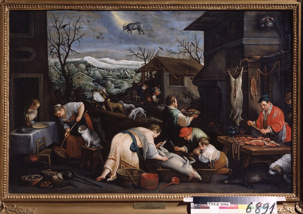 Stock Photo: 4266-13392 Butcher by Leandro Bassano, oil on canvas, 1557-1622, Russia, Tula, State Art Museum, 80x121
