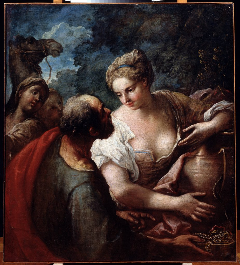 Rebecca and Eliezer by Titian, oil on canvas, 1488-1576, Russia, Khabarovsk, Far Eastern Art Museum, 100x112 : Stock Photo