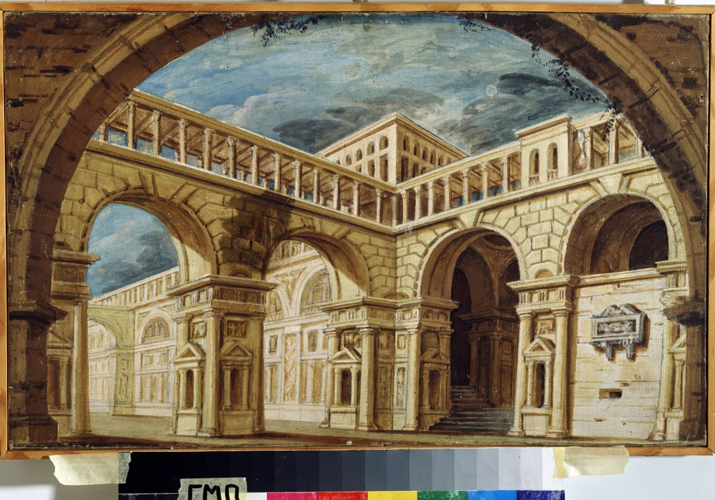 Stock Photo: 4266-13440 Stage design by Jacob and Vasili Dadonov brothers, tempera and gold on canvas, 1800s, active 1790s-1800s, Russia, St Petersburg, State Museum of Theatre and Music Art