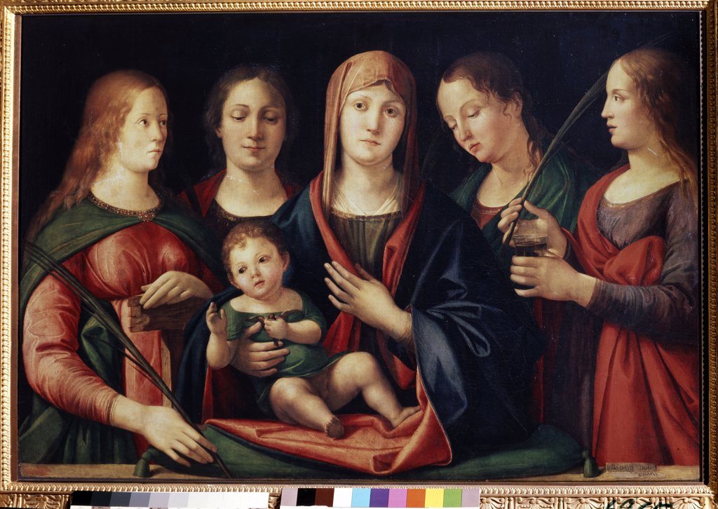 Stock Photo: 4266-13447 Virgin Mary with Jesus as infant by Alvise Vivarini, oil on canvas, 1504, circa 1446-circa 1505, Venetian School, Russia, St Petersburg, State Hermitage, 89x129
