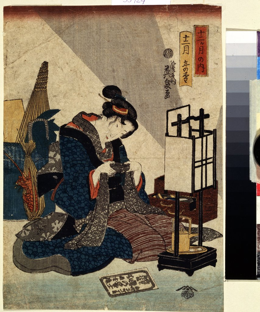 Stock Photo: 4266-13490 Woman with handcraft by Keisai Eisen, colour woodcut, 1840-1848, 1790-1848, Russia, Moscow, State Pushkin Museum of Fine Arts, 24, 5x17, 8