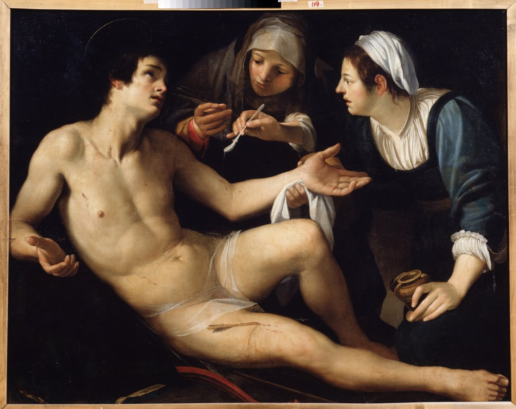 Stock Photo: 4266-13511 Saint Lucia and Saint Sebastian by Francesco Rustici, oil on canvas, circa 1575-1626, School of Siena, Russia, Yekaterinburg, State Art Museum, 119x148