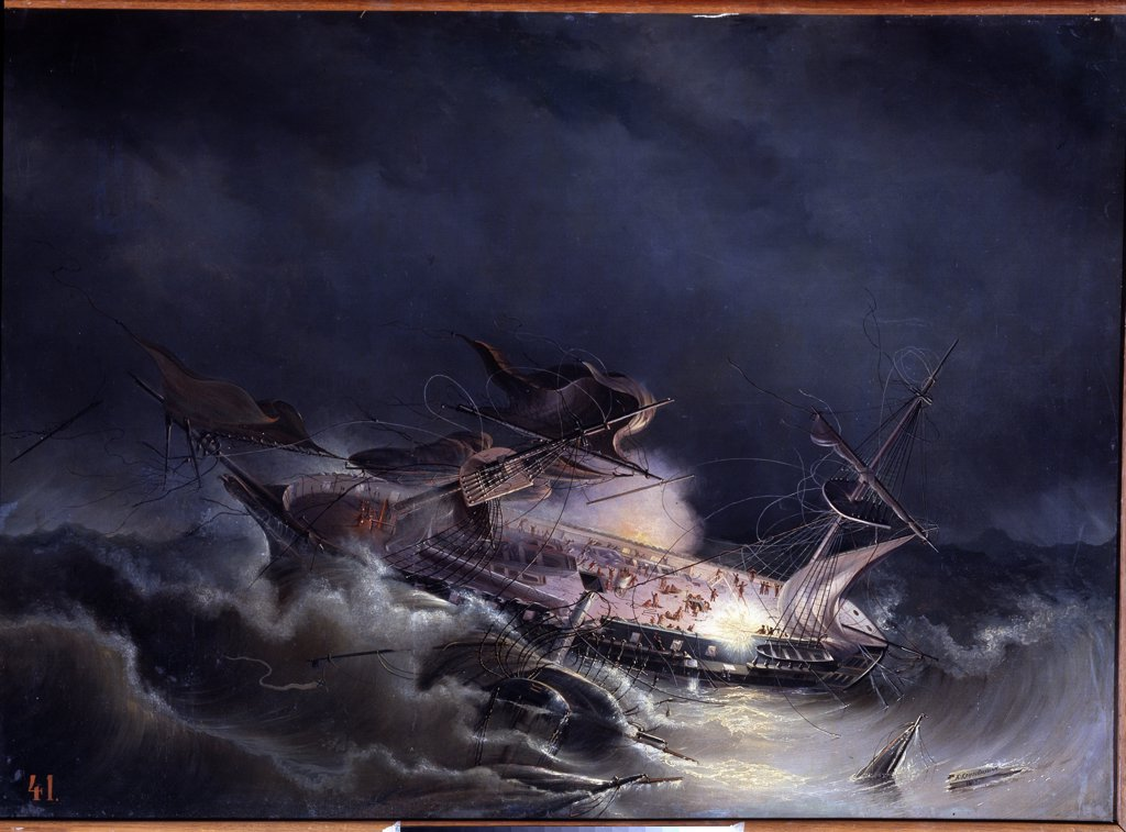 Stock Photo: 4266-13539 Sea storm by unknown painter, Russia, St Petersburg, State Central Navy Museum, 87x120