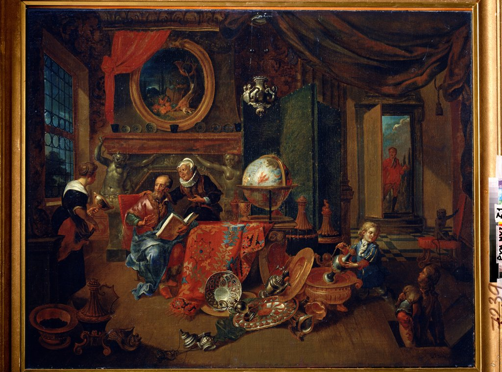 Family scene by Dominicus Smout, oil on canvas, 17th century, Russia, Moscow, State Pushkin Museum of Fine Arts, 69, 5x86 : Stock Photo
