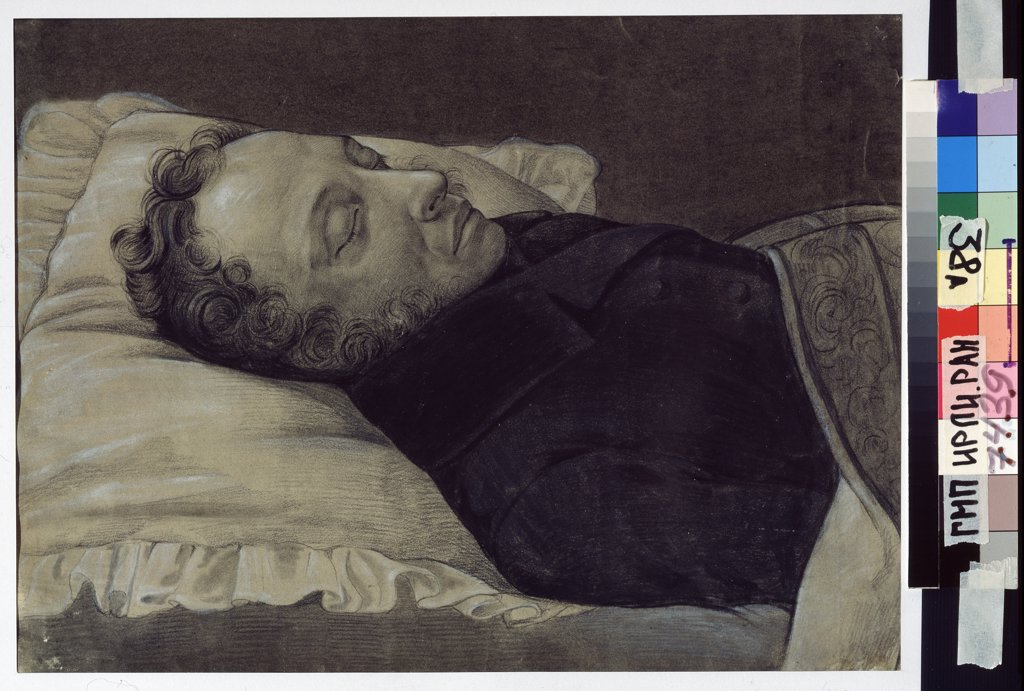 Stock Photo: 4266-13728 Alexander Pushkin on deathbed, Russia, Moscow, Russian State Archive of Literature and Art