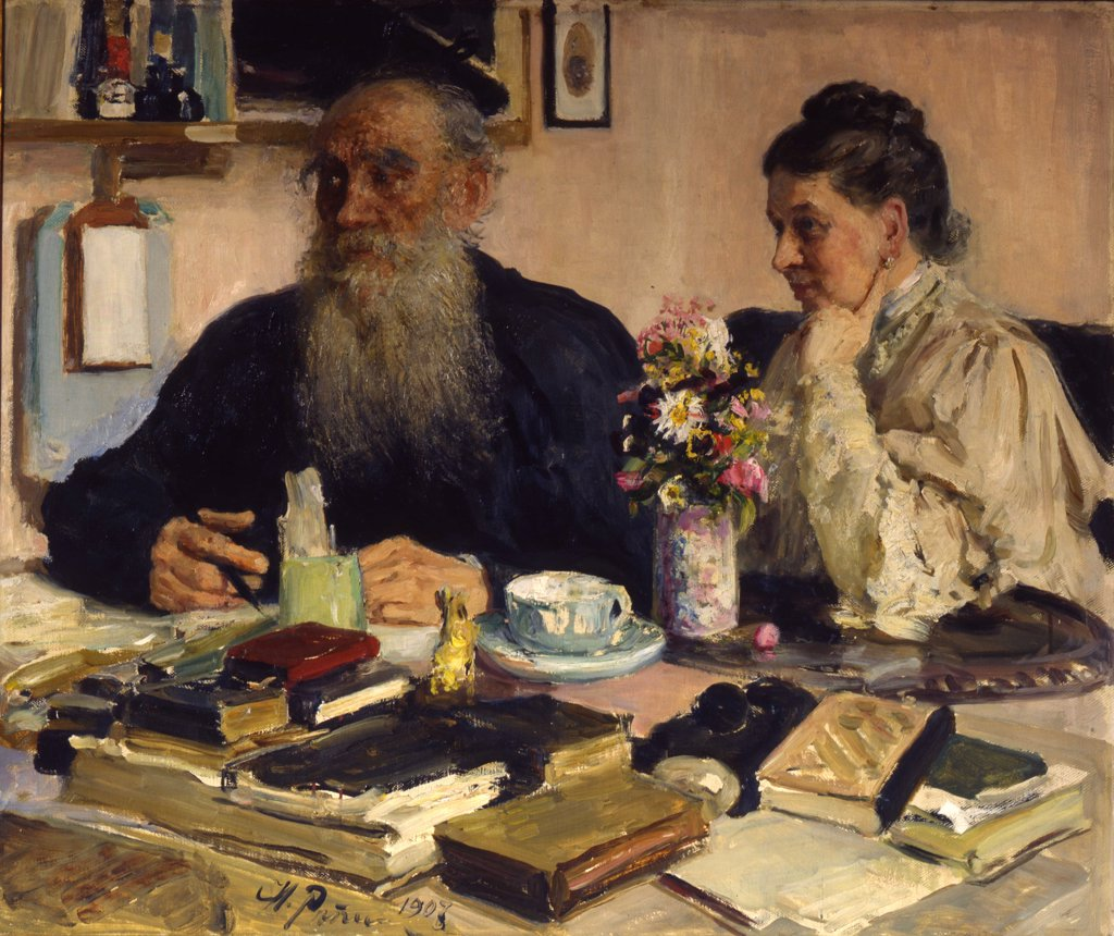 Stock Photo: 4266-13733 Leo Tolstoy and woman sitting at table by Ilya Yefimovich Repin, Oil on canvas, 1907, 1844-1930, Russia, Moscow, Russian State Archive of Literature and Art