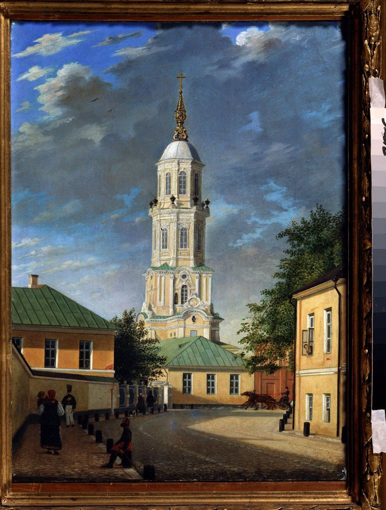 View of church tower by Karl Petrovich Bodri, oil on canvas, 1843, 1812-1894, Russia, St. Petersburg, A. Pushkin Memorial Museum, 55, 3x39, 7 : Stock Photo