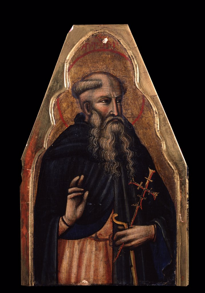 Saint Anthony the Great by Venetian master, tempera on panel, 14th century, Private Collection, 26x16, 5 : Stock Photo
