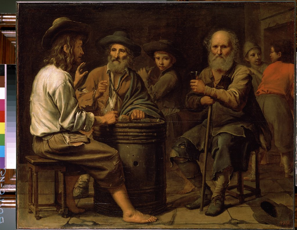 Stock Photo: 4266-13857 Funny company by Mathieu Le Nain, oil on canvas, 1640s, 1607-1677, Russia, St. Petersburg, State Hermitage, 78x94, 5