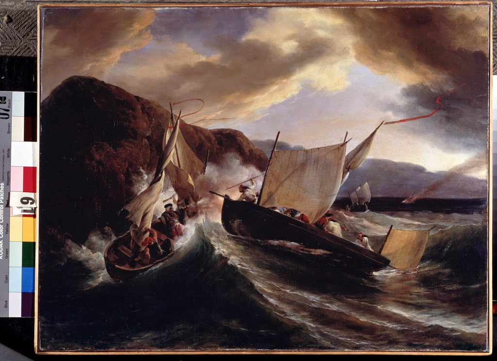 On the sea by Horace Vernet, Oil on canvas, 1825, 1789-1863, Russia, St. Petersburg, State Hermitage, 54x70 : Stock Photo