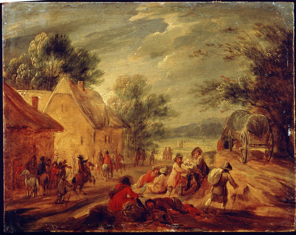 Stock Photo: 4266-13896 War scene by Adam Frans van der Meulen, Oil on wood, 1632-1690, Russia, Moscow, State A. Pushkin Museum of Fine Arts, 13, 7x17, 1