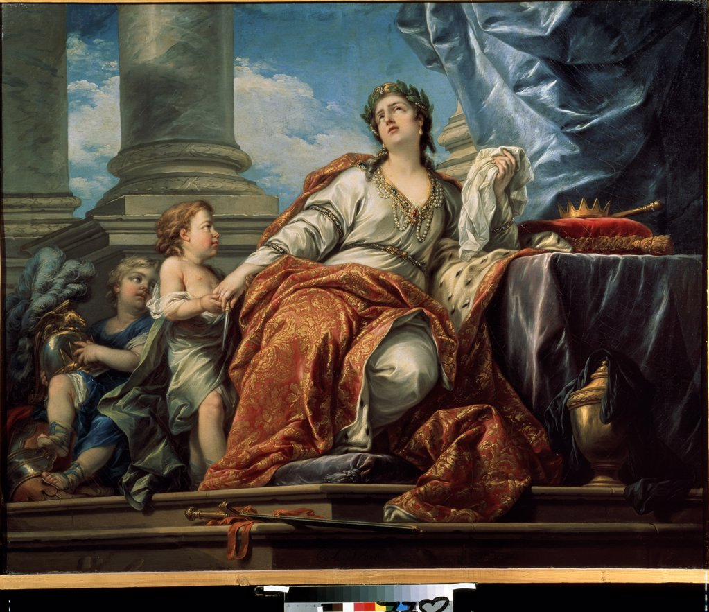 Stock Photo: 4266-13906 Allegory of tragedy by Carle Van Loo, Oil on canvas, 1753, 1705-1765, Russia, Moscow, State A. Pushkin Museum of Fine Arts, 121, 5x151
