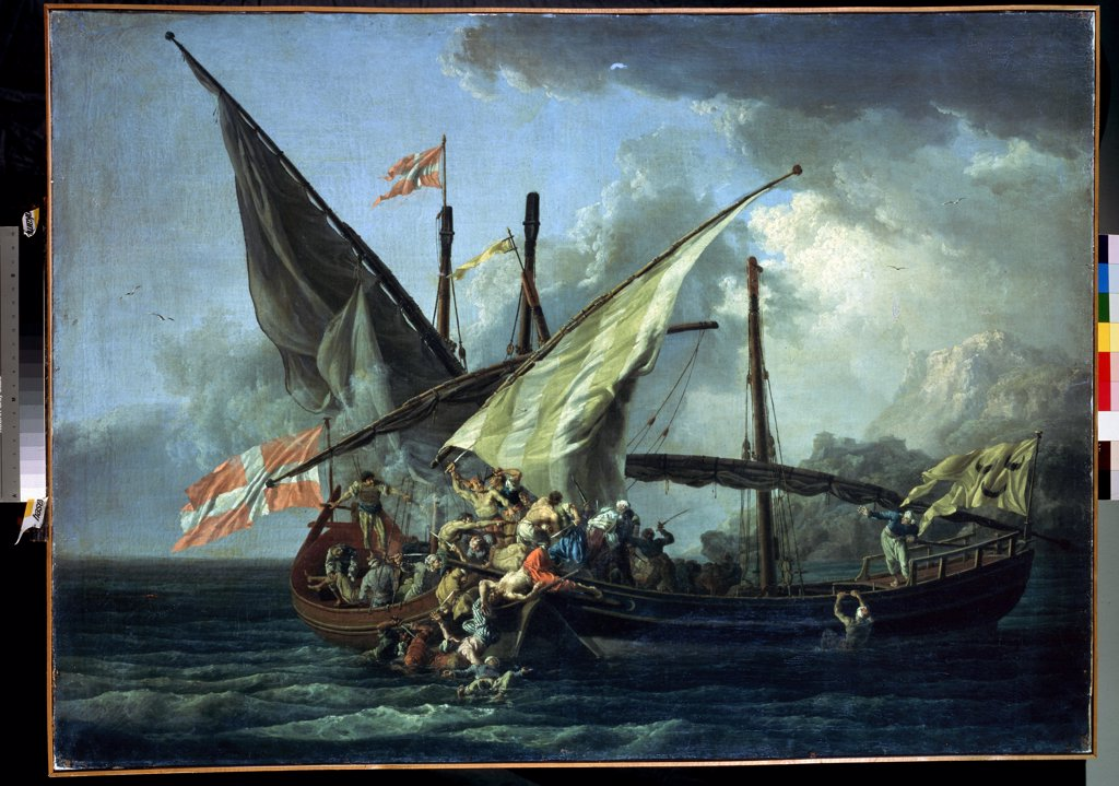 Attack on ship by Pierre Jacques Volaire, oil on canvas, 1765, 1729-1802, Russia, St. Petersburg, State Hermitage, 99x138 : Stock Photo