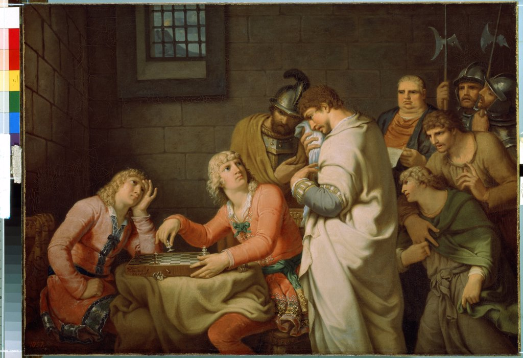 Stock Photo: 4266-13930 Conradin Of Swabia And Frederick Of Baden Being Informed Of Their Execution by Johann Heinrich Wilhelm Tischbein, oil on canvas, 1785, 1751-1829, Russia, St. Petersburg, State Hermitage, 65.5x91.5