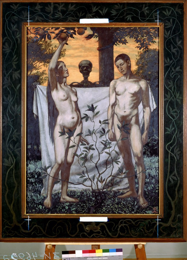 Stock Photo: 4266-13931 Adam and Eve by Hans Thoma, oil on canvas, 1897, 1839-1924, Russia, St. Petersburg, State Hermitage, 110x178, 5