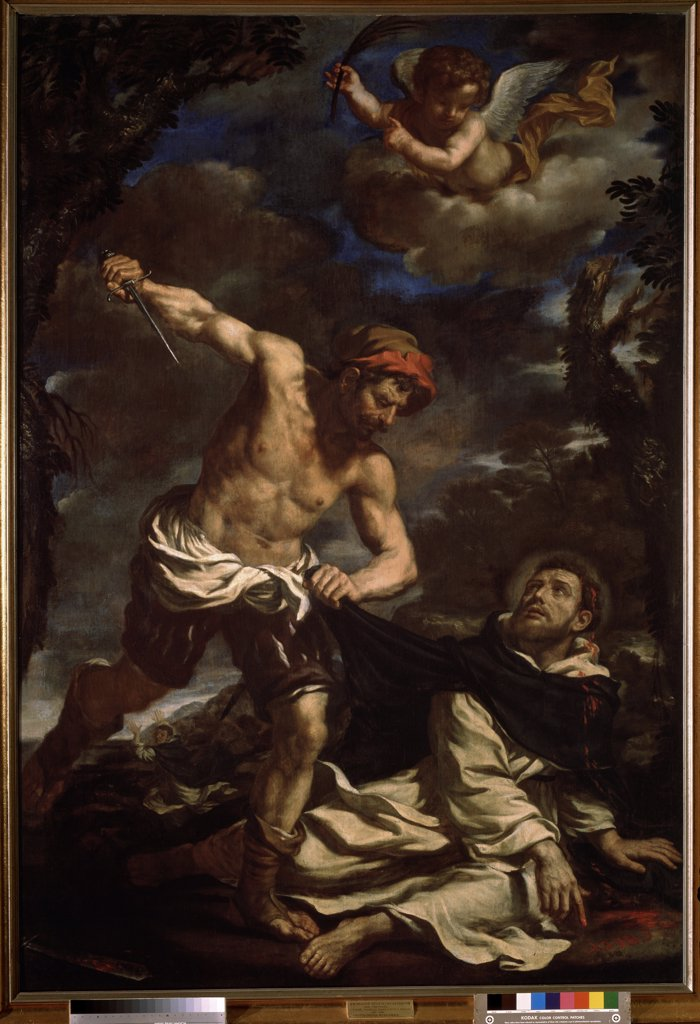 Stock Photo: 4266-13940 Persecution of Saint Peter of Verona by Guercino, oil on canvas, 1620s, 1591-1666, Russia, Moscow, State A. Pushkin Museum of Fine Arts, 226x155