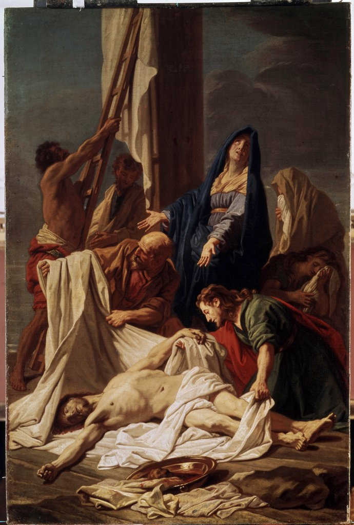 Descent from the cross by Jean Jouvenet, oil on canvas, 1644-1717, Russia, St. Petersburg, State Hermitage, 98x62 : Stock Photo