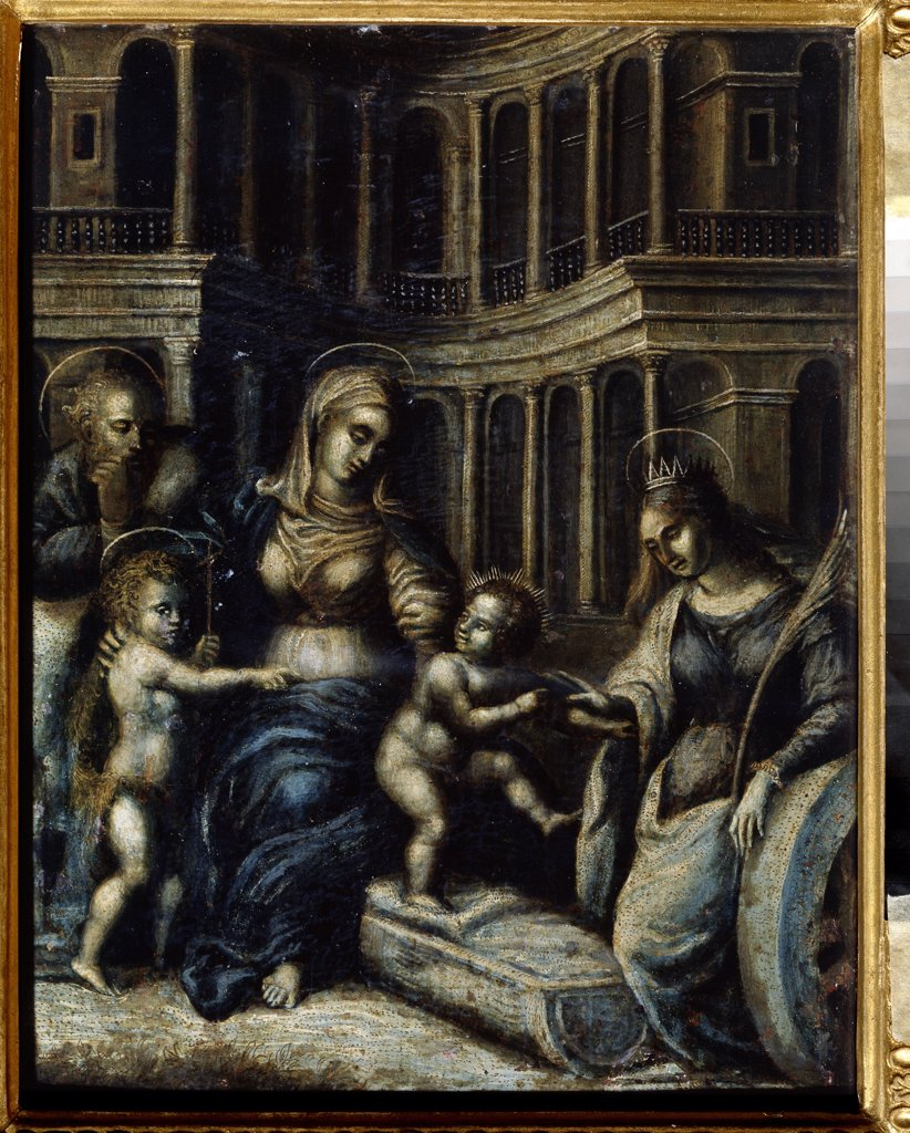 Stock Photo: 4266-14039 Holy Family with Saint Catherine by Giulio Romano, oil on wood, 1499-1546, Russia, Tambov, Regional Art Gallery, 34x25, 5