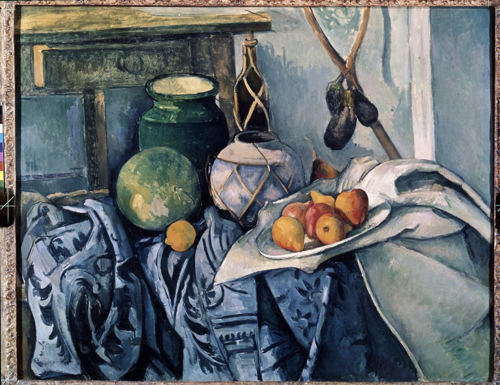Still life with fruits and jugs by Paul Cezanne, oil on canvas, 1890-1894, 1839-1906, USA, New York, Metropolitan Museum of Art, 72, 4x91, 4 : Stock Photo