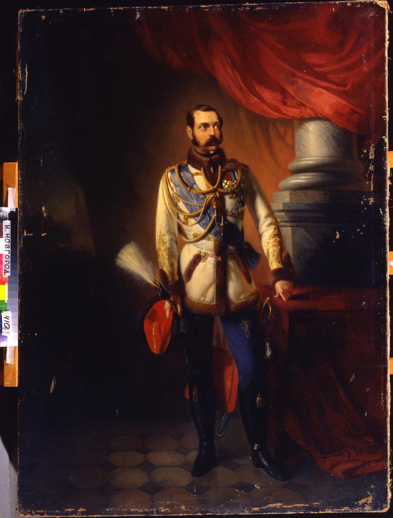 Stock Photo: 4266-14097 Portrait of emperor Alexander II by Konstantin Yegorovich Makovsky, oil on canvas, 1860s, 1839-1915, Russia, Nizhny Novgorod, State Art Museum, 130x96