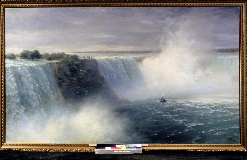Stock Photo: 4266-14158 Niagara Falls by Ivan Konstantinovich Aivazovsky, Oil on canvas, 1892, 1817-1900, Russia, Minsk, National Art Museum of Belorussian Republic, 106, 5x183