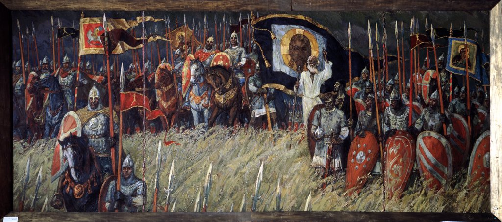 Battle of Kulikovo by Albert Ivanovich Borisov, Oil on canvas, 1987, 1935, Russia, Moscow, Central Artist's House, 152x360 : Stock Photo