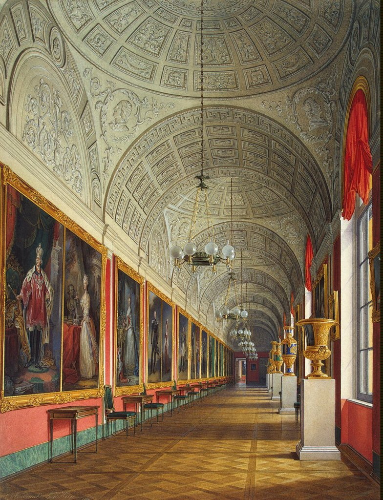 Stock Photo: 4266-14336 New Hermitage by Eduard Hau, Watercolor on paper, 1864, 1807-1887, Russia, St. Petersburg, State Hermitage, 43.3x33