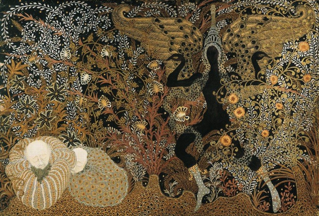 Kalmakov, Nikolai Konstantinovich (1873-1955) Regional Art Gallery, Vologda 68x100 Gouache, gold and silver on cardboard Symbolism Russia Mythology, Allegory and Literature  : Stock Photo