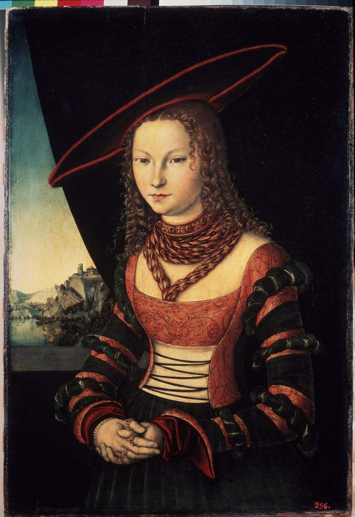 Stock Photo: 4266-14464 Young woman by Lucas Cranach the Elder, Oil on wood, 1526, 1472-1553, Russia, St. Petersburg, State Hermitage, 88, 5x58, 6
