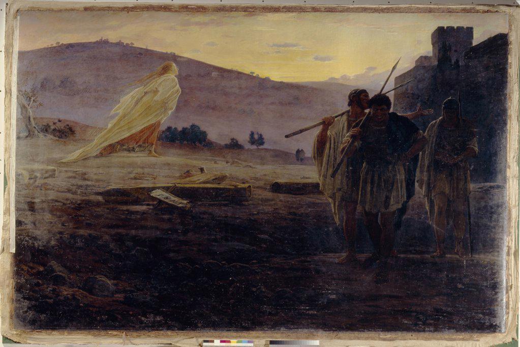 Stock Photo: 4266-1447 Resurrection of Jesus Christ, Nikolai Nikolayevich Ge, Oil on canvas, 1867, 1831-1894, Russia, Moscow, State Tretyakov Gallery, 229x352