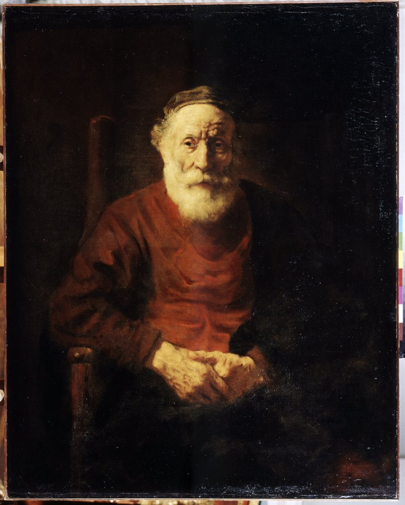 Portrait of old man in red by Rembrandt van Rhijn, oil on canvas, 1652-1654, 1606-1669, Russia, St Petersburg, State Hermitage, 108x86 : Stock Photo