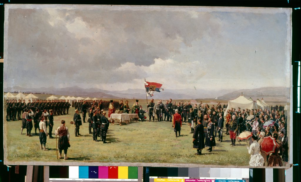 Stock Photo: 4266-14541 Priest blessing soldiers by Nikolai Dmitrievich Dmitriev-Orenburgsky, oil on canvas, 1877, 1837-1898, Russia, Moscow, State History Museum
