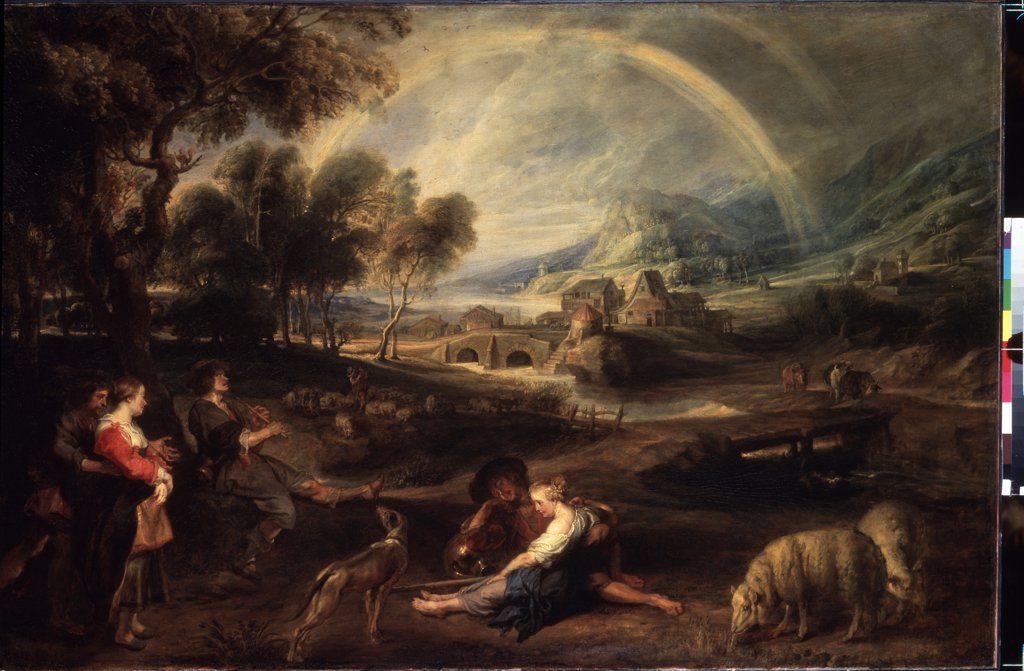 Stock Photo: 4266-14583 Illustration with rainbow by Pieter Paul Rubens, oil on canvas, 1630s, 1577-1640, Russia, St. Petersburg, State Hermitage, 86x130