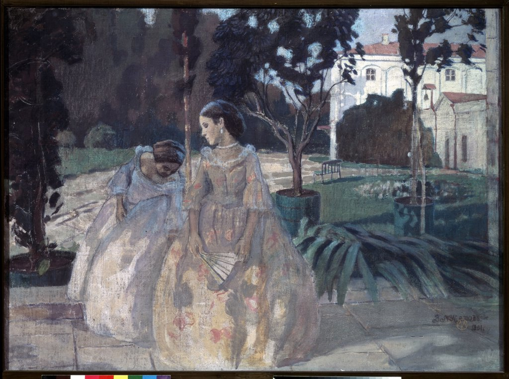 Stock Photo: 4266-14627 Young women in park by Viktor Elpidiforovich Borisov-Musatov, tempera on canvas, 1901, 1870-1905, Russia, Moscow, State Tretyakov Gallery, 103x141