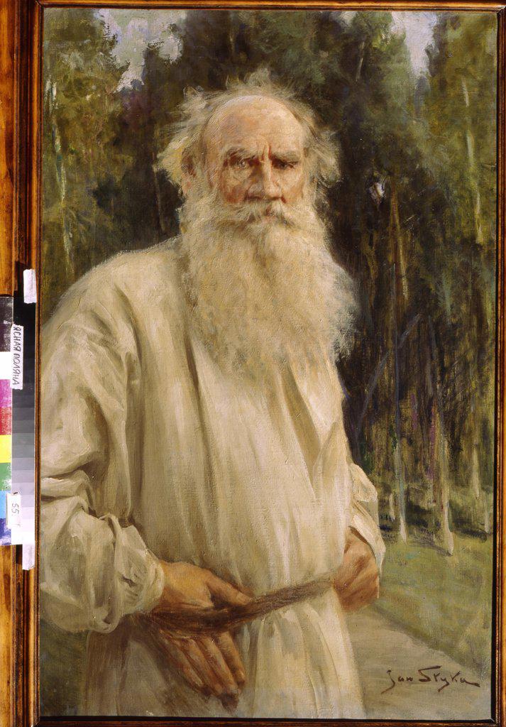 Portrait of Lev Nikolayevich Tolstoy by Jan Styka, oil on canvas, 1910, 1858-1925, Russia, near Tula, State Museum Yasnaya Polyana Estate, 104x67 : Stock Photo