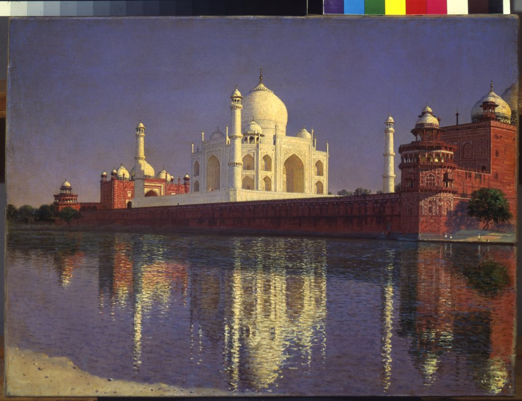 Stock Photo: 4266-14675 View of Taj Mahal by Vasili Vasilyevich Vereshchagin, oil on canvas, 1874-1876, 1842-1904, Russia, Moscow, State Tretyakov Gallery, 40, 5x55