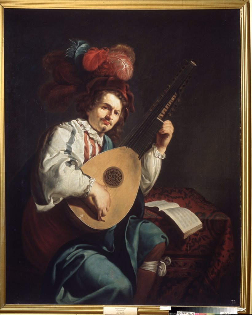 Stock Photo: 4266-14678 Portrait of man playing guitar by Theodor Rombouts, oil on canvas, 1597-1637, 17th century, Ukraine, Vinnytsia, Regional Art Museum, 152x123
