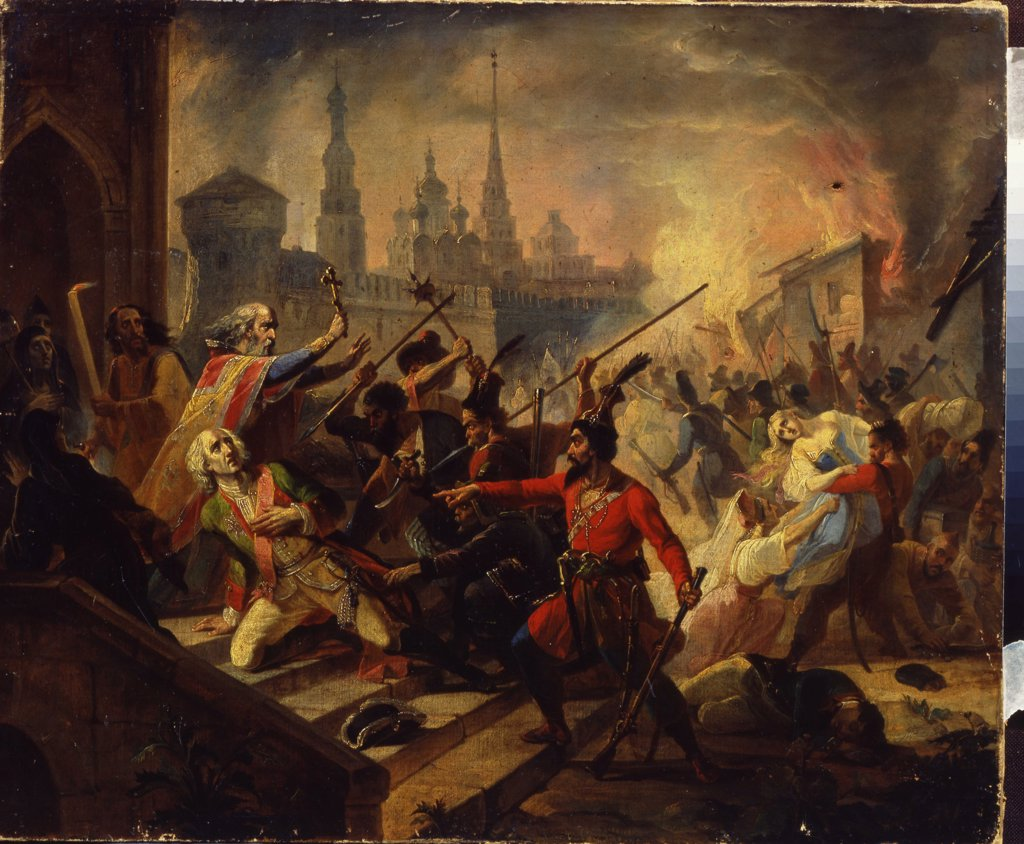 Stock Photo: 4266-1468 Pugachev's Rebellion by Russian master, Oil on canvas, 19th century, Russia, Moscow, State Tretyakov Gallery, 57, 5x70, 5