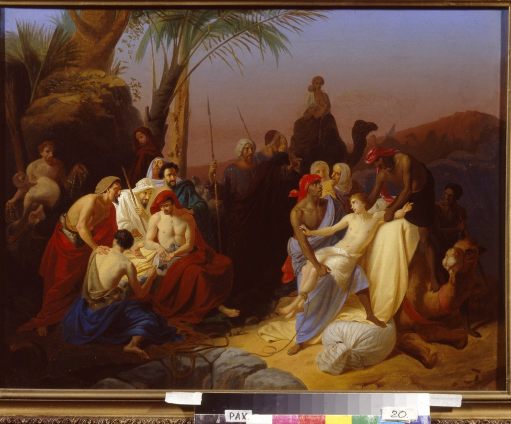 Scene from Old Testament with Ishmaelites by Konstantin Dmitrievich Flavitski, oil on canvas, 1855, 1830-1866, Russia, St. Petersburg, Museum of Fine Arts Academy, 59x75, 5 : Stock Photo