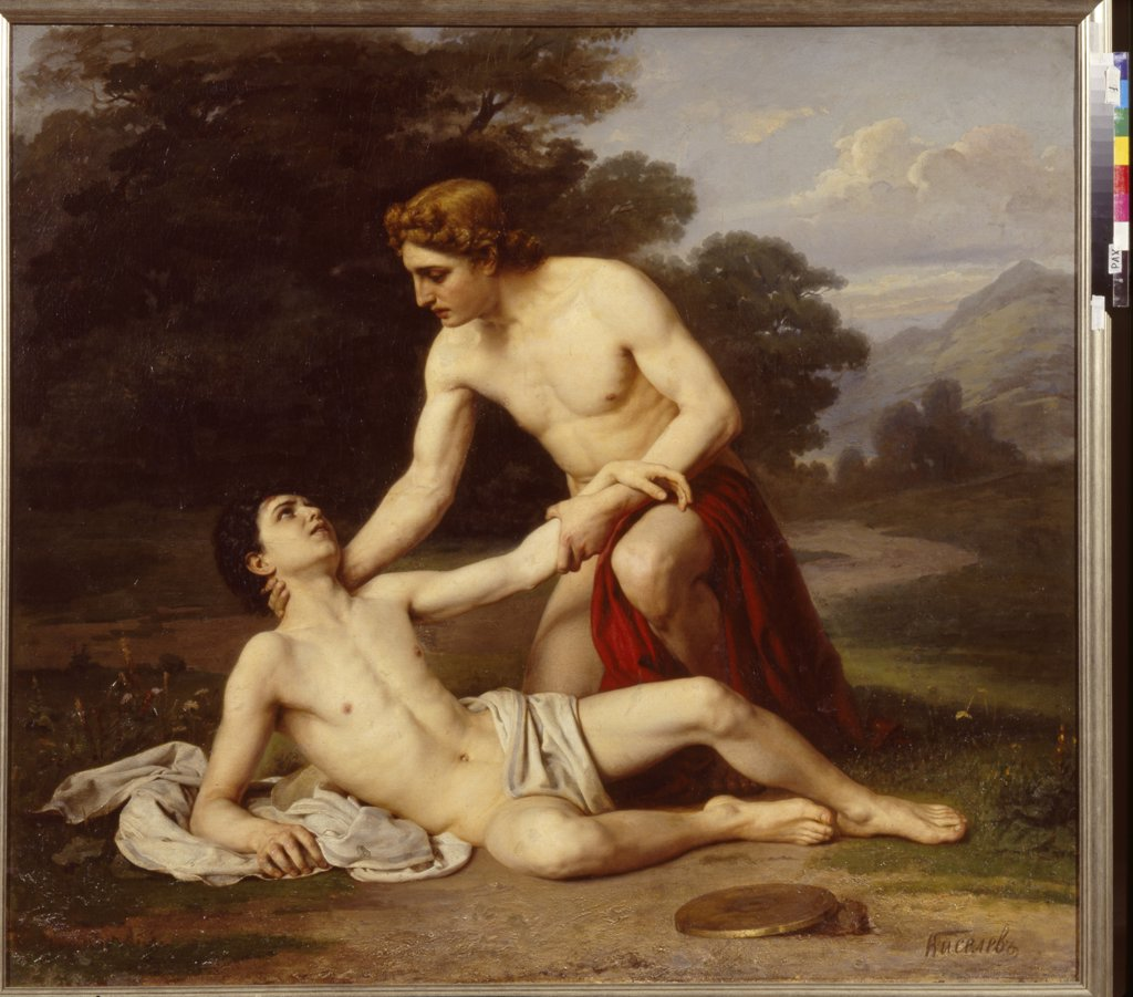 Stock Photo: 4266-14727 Death of Hyakinthos by Alexander Alexeyevich Kiselev, oil on canvas, 1884, 1855-after 1918, Russia, St. Petersburg, Museum of Fine Arts Academy, 135x150