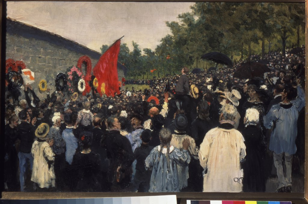 Stock Photo: 4266-1474 Big gathering by Ilya Yefimovich Repin, Oil on canvas, 1883, 1844-1930, Russia, Moscow, State Tretyakov Gallery, 36, 8x59, 8