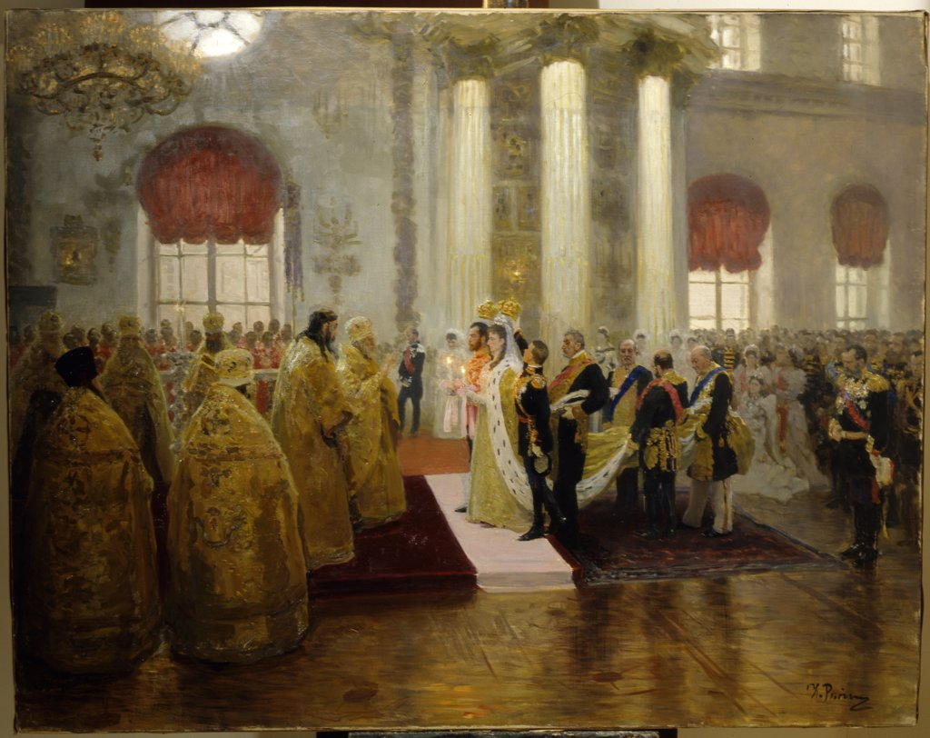 Stock Photo: 4266-14769 Emperor wedding by Ilya Yefimovich Repin, oil on canvas, 1894, 1844-1930, Russia, St Petersburg, State Russian Museum, 98, 5x125, 5