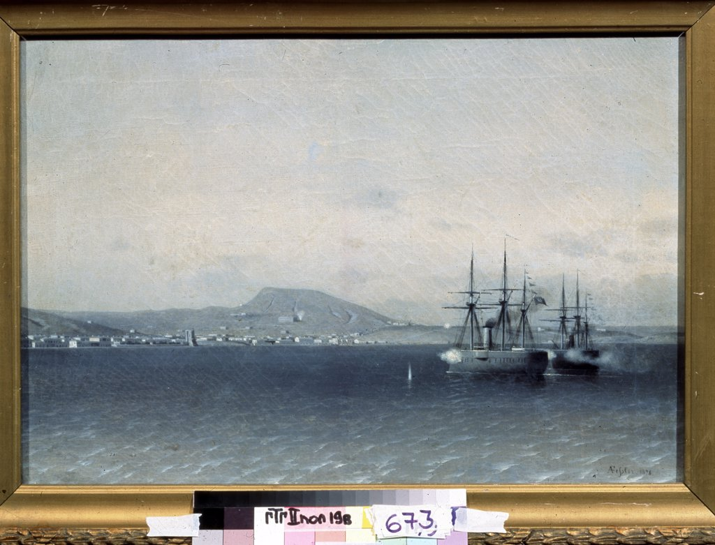 Stock Photo: 4266-1479 Naval Battle by Adolf Fessler, oil on canvas, 1878, 1826-1885, Russia, Moscow, State Tretyakov Gallery, 35x51