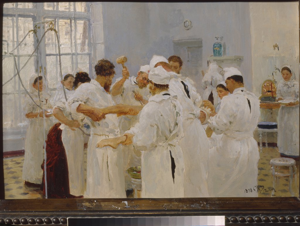 Stock Photo: 4266-14838 Surgery by Ilya Yefimovich Repin, oil on canvas, 1888, 1844-1930, Russia, Moscow, State Tretyakov Gallery, 27, 8x40, 3
