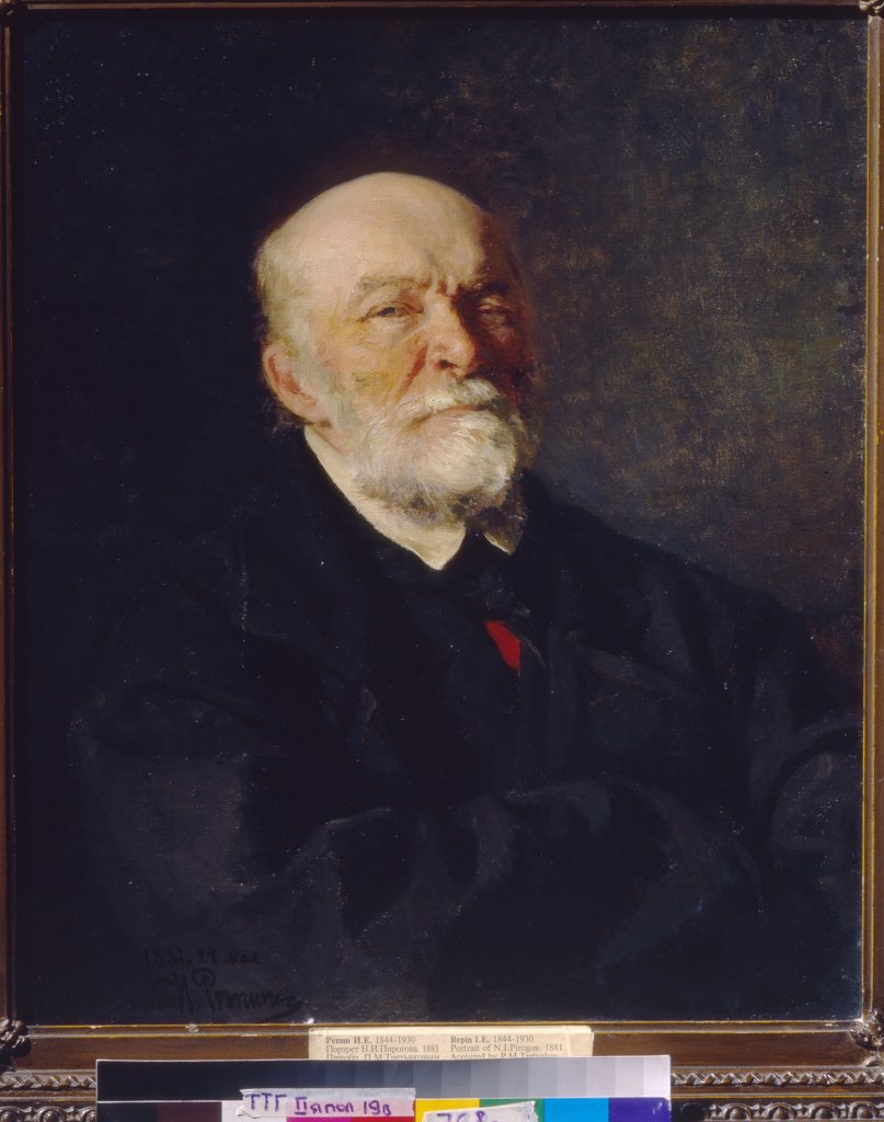 Portrait of scientist and doctor Nikolay Pirogov by Ilya Yefimovich Repin, oil on canvas, 1881, 1844-1930, Russia, Moscow, State Tretyakov Gallery, 64, 5x53, 4 : Stock Photo