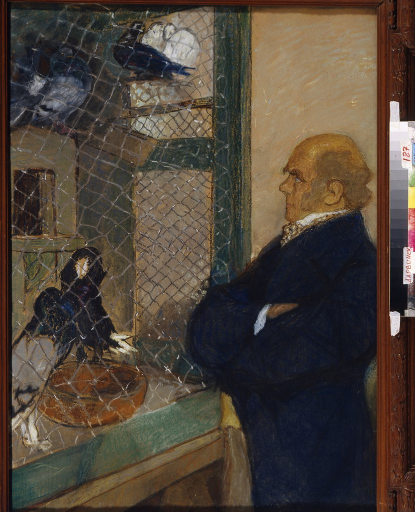 Stock Photo: 4266-14847 Portrait of british scientist Charles Darwin standing in front of cage by Mikhail Dmitrievich Ezuchevsky, pastel on paper, 1920, 1880-1928, Russia, Moscow, State Darwin Museum, 100x80