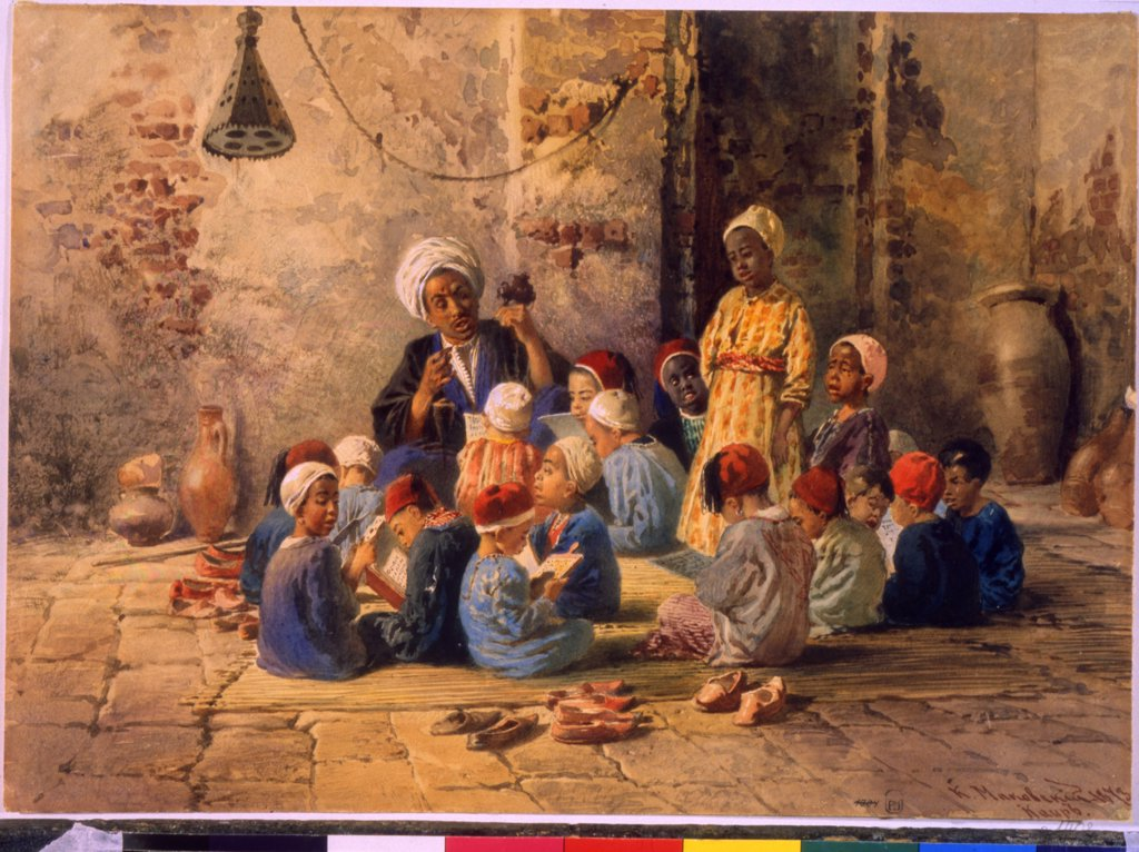 Children learning by Konstantin Yegorovich Makovsky, Watercolour on paper, 1873, 1839-1915, Russia, St. Petersburg, State Russian Museum, 26, 9x38, 1 : Stock Photo
